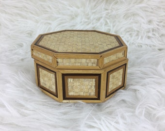 Vintage Woven Keepsake Treasure Box Boho Decor