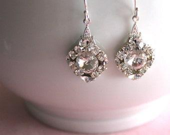 Wedding Earrings, Glam Diamond Drop, Bridal Earrings, Bridesmaids Gift, Swarovski Crystal Earrings, Unique Earrings