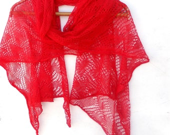 Scarf, knitted red linen scarf, knit wrap, knitting flax shawl, lace scarf, natural linen scarves, red shawl, wedding scarf, accessories