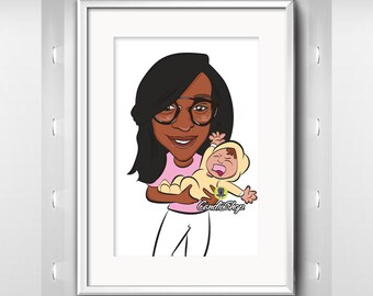 Baby Shower Gifts - Custom Family Portrait, two person caricature from photo, custom cartoon illustration, digital cartoon portrait, drawing