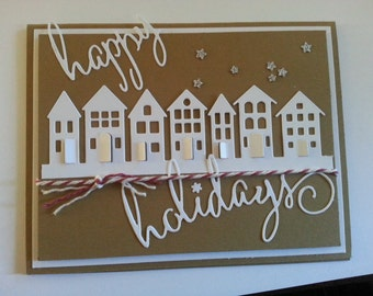 Winter Houses Holiday cards - set of ten
