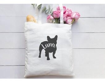 Personalized French Bulldog Silhouette/Tote Bag/French Bulldog/Personalized bag/Frenchie Owner/Frenchie Puppy/New Dog/Personalized Gift Bag