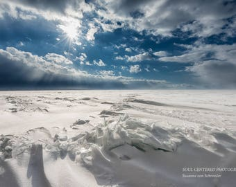 Lake Superior Winter Photo, Apostle Islands, Nature Photography, Fine Art Print, Blue White, Sun Sky Clouds, Snow Storm, Northern Wisconsin
