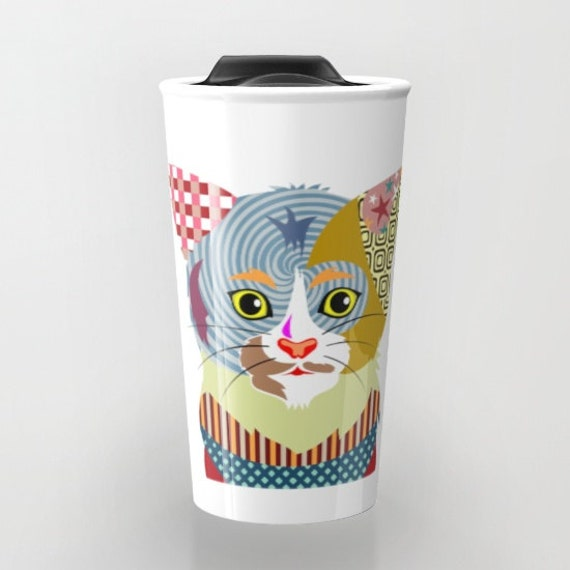 Cat Travel Coffee Mug Cute Cat Travel Mug Ceramic Mug Pet