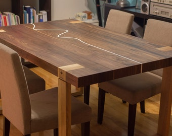 Solid wood table, walnut and cherry, 4 to 6 people design inlaid in resin, made by hand in Quebec