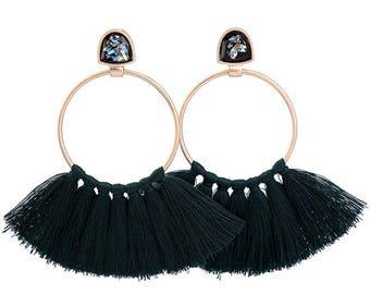 Black Tassel Earrings with Gold Hoops