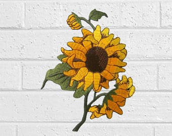 """Sunflower Patch -Flower Patch - Iron On Patches - Patches for Jackets, Jeans , Cap - Cool Badge Size 3.5"""" (W) x 4.7"""" (H)"""