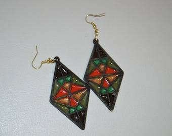 Resin Jewelry, Statement Earrings, Quirky Jewelry, stained glass, Fun Jewelry,Lasercut wood