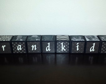 Grandkids Blocks-Personalized Gifts from Grandkids-Personalized Wooden Blocks-Personalized Grandparent Blocks-Wooden Photo Blocks