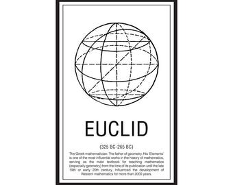 Math Poster,  Printable Poster, Maths, Education, Mathematicians, Euclid
