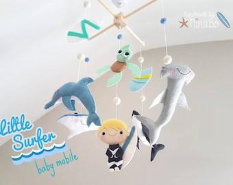 Little surfer Baby Mobile - Cot/ Crib Mobile - Felt Mobile - Ocean Mobile - Sea Creatures Mobile - Shark - Dolphin - Stingray