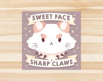 Sweet Face Sharp Claws Sticker