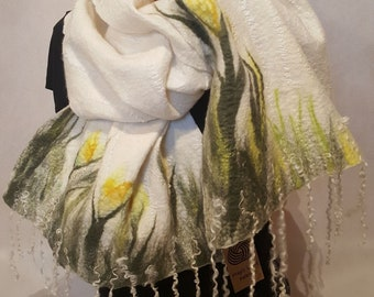 White Elegant Femine Unique silk felted Scarf