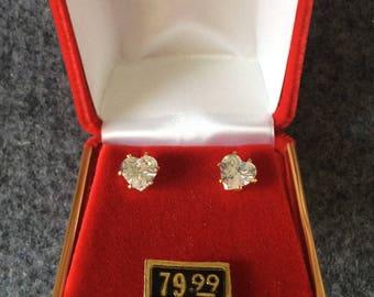 Heart Earrings 14 kt Gold on Sterling  CZ 6 mm