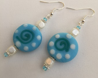 Hand Crafted Blue drop beaded Earrings.