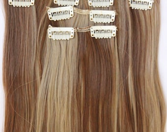 "READY TO SHIP 26"" Light Brown Blonde Hair Extensions, Light Brown Extensions, Blonde Hair, Clip in Hair, Clip in Extensions, 8 piece Set"