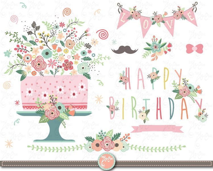 Flower Birthday clip art FLORAL BIRTHDAY clipart