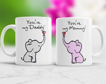 New Parent gift Mommy and Daddy mug Set of 2 mugs for new mom and new dad Cute elephant mugs for mom and dad Parents gift baby shower gift
