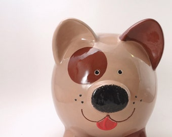 Brown Dog Piggy Bank - Personalized Puppy Dog Bank - Animal Piggy Bank - Kids Gift - Puppy Piggy Bank - with hole or  NO hole in bottom