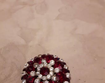 Vintage Red Ruby and Clear Rhinestones Stunning Brooch - Gold Tone Round Brooch - Cluster Brooch - 1950s-Wedding/Bridal/Anniversary/Birthday