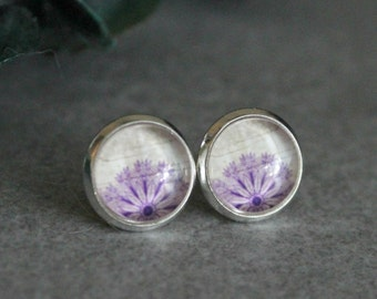 Purple Flower Earrings, Purple Stud Earrings, Purple Floral Earrings, Purple Earrings, Purple Post Earrings, Beige Stud Earrings, 10MM Studs