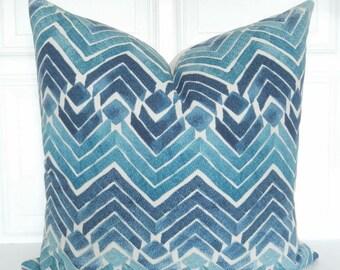 Blue Pillow Cover - Blue Chevron Stripe Pillow - Designer Pillow - Blue Throw Pillow - 18x18, 20x20, Lumbar Pillow - Blue Decorative Pillow