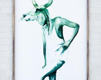 Watercolour painting Taurus Illustration emerald green bull skull horns zodiac may starsign wall art Taurean A4 A3 A2 A1 or CUSTOM SIZE