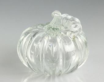 """4"""" Glass Pumpkin by Jonathan Winfisky - Transparent - Hand Blown Glass"""