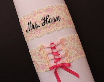 Mrs Wedding GARTER - Bridal Corset Garters, ribbon, WHITE lace or PINK lace garter, Custom Size from Petite to Plus Size GS0