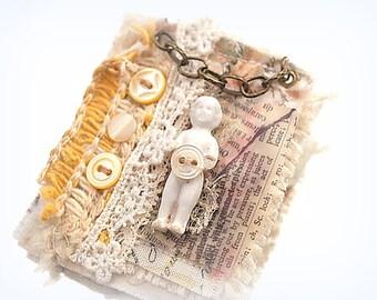 Frozen Charlotte Brooch Shabby Cottage Fiber Wearable Art One-of-a-Kind Doll Jewelry Broach Pin