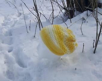 Handmade Crochet Yellow and white slouchy beanie