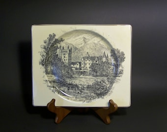 Royal Staffordshire Biarritz Plate - Balmoral Castle by Clarice Cliff,  A. J. Wilkinson Potteries. Royal Family Vacation Estate.