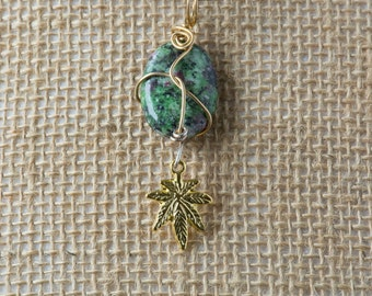 Ruby Zoisite, Pot Pendant, Goldplate Wire, Cannabis Charm, Green Pendant, Cannabis Necklace, Cannabis Pendant, Pot Necklace, Weed, 420, Pot