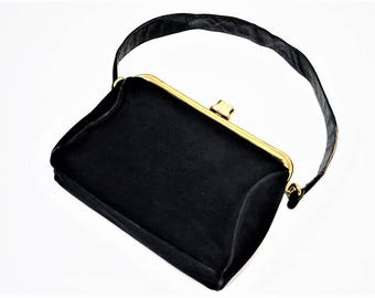 Lennox Navy Blue Velvet snap purse with strap