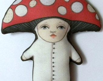 Mushroom Ornament--  Original Folk Art Doll-- Printed, Sewn, and Stuffed Fabric