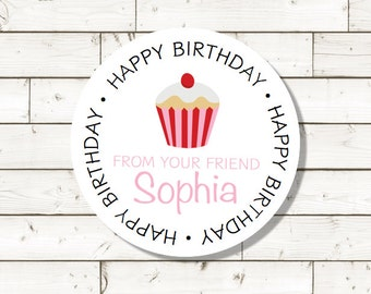 Happy Birthday sticker,  sheet of 20, custom- 2 inch circle, Cupcake sticker, white photo gloss label,  birthday present sticker