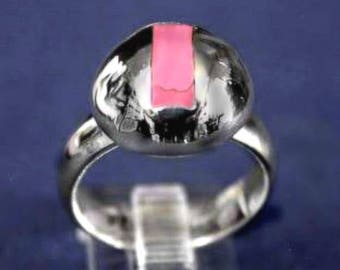 Pink Agate 925 Sterling Silver Round Top Ring Size 6.25 r834