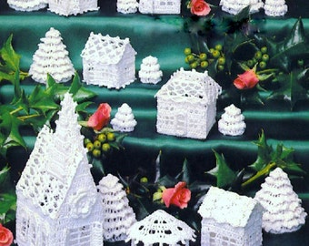 INSTANT DOWNLOAD PDF Vintage Crochet Pattern  White Christmas Village   Christmas Decorations Church Cottage