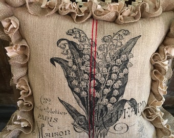 Vintage European Grain Sack Pillow Cover, Lilies of the Valley