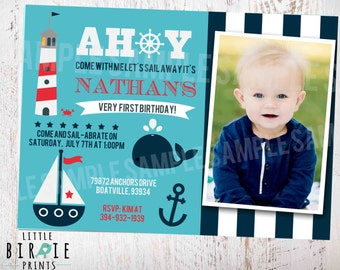 Nautical First Birthday Invitations Invitation Etsy