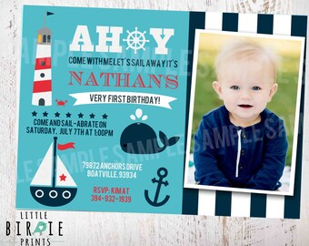 NAUTICAL INVITATION Nautical First Birthday invitation Nautical birthday invitation boat lighthouse whale invitation