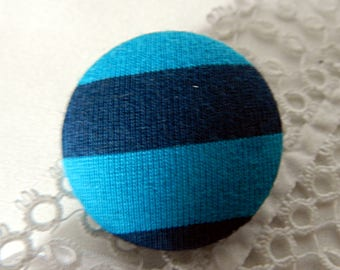 Striped turquoise fabric button, 32 mm / 1.25 in