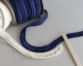 "Navy Brush Fringe trim by the yard / Blue 1.25"" Cotton Fringe Trim / Pillow Trim / Pillow Fringe / American Made Vintage Trim"