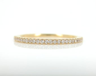 Micro Pave Diamond Eternity Band in 18k Yellow Gold