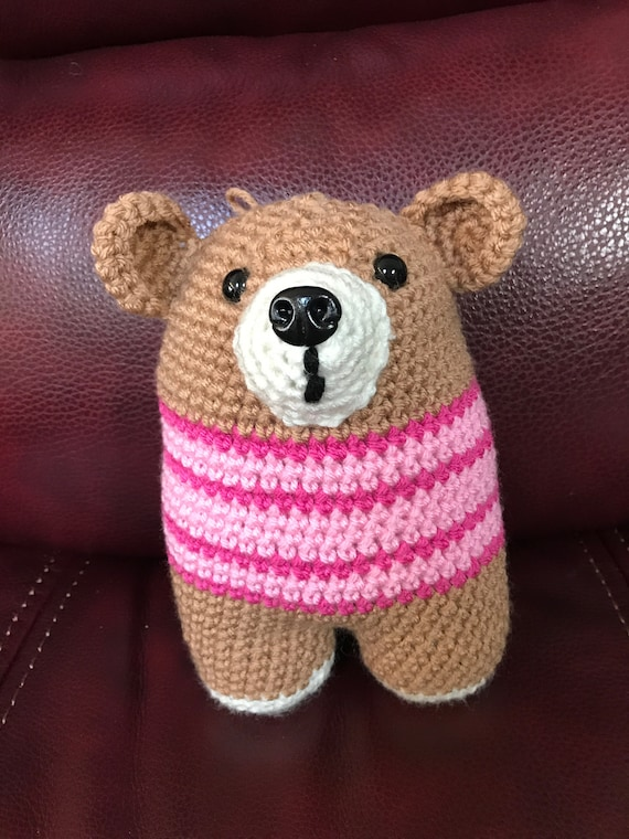 BrownTwo-legged Bear with Pink Sweater Stuffed Amigurumi Toy