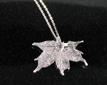 Small Silver Maple Leaf Pendant Necklace on 20 inch Chain, Plated Real Maple Leaf Jewelry