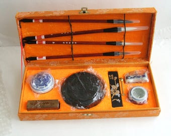 Chinese Sumi Set, Vintage Sumi Set, Calligraphy Set