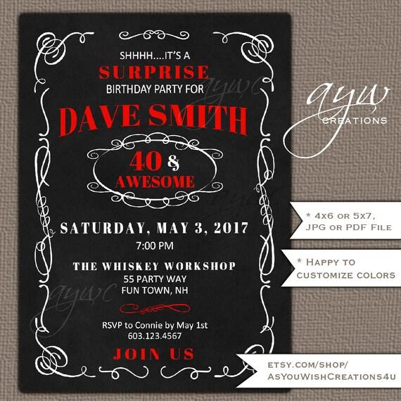 40th Birthday Party Invitation Man 40th Birthday Invitation