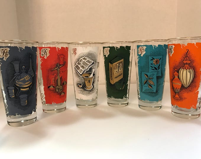 6 vintage apothecary pint glasses