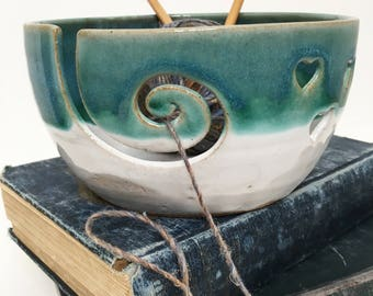 Bright Green Wheel Thrown Yarn Bowl - Made To Order